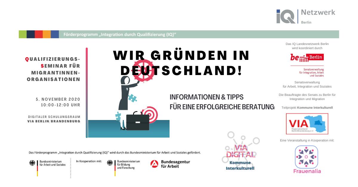 Qualifizierungsseminar für Migrant*innenorganisationen: Wir gründen in Deutschland! Infos und Tipps zur erflogreichen Beratung mit Frauenalia