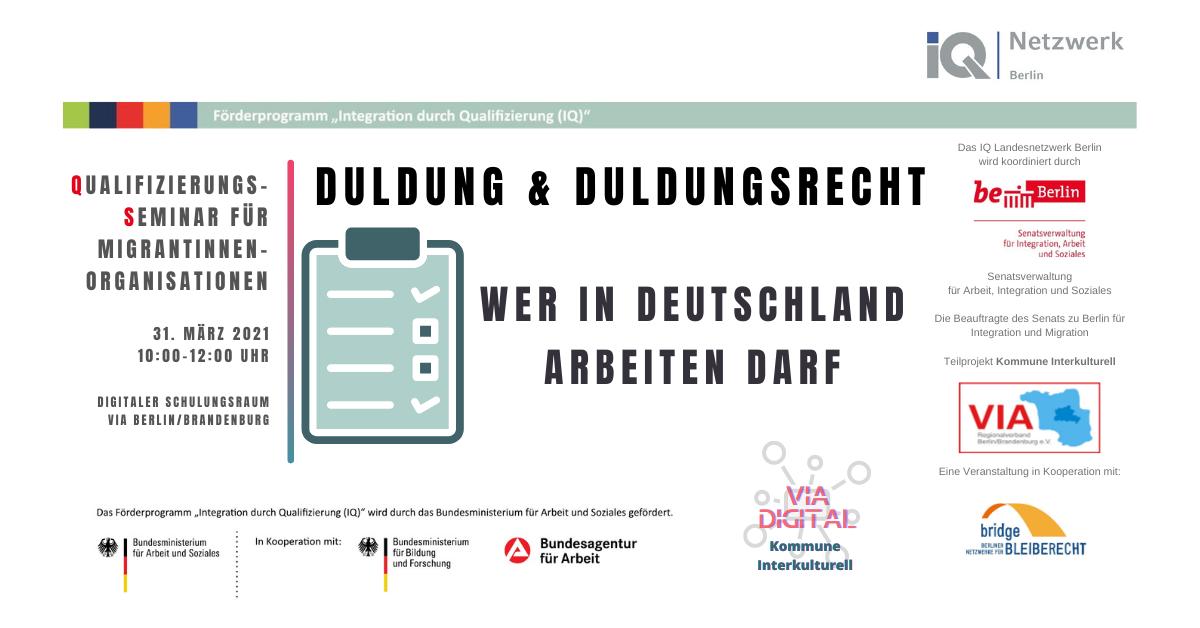 Qualifizierungsseminar zum Thema Duldung und Duldungsrecht: Wer in Deutschland arbeiten darf