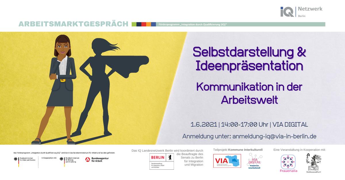 """Poster für Arbeitsmarktgespräch """"Selbstdarstellung und Ideenpräsentation – Kommunikation in der Arbeitswelt"""""""