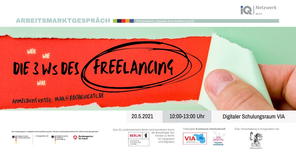 Poster Arbeitsmarktgespräch Die 3 Ws des Freelancing