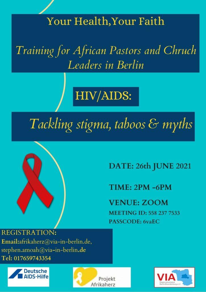 """Flyer für Zoom Event – """"Afrikanische Pastoren und Multiplikator*innen in der HIV-Prävention: lokale Basisfortbildung"""""""